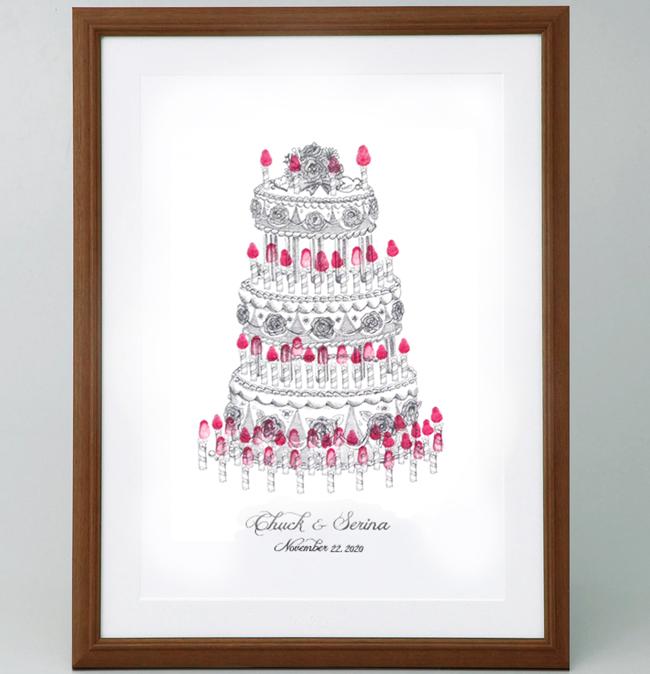ウェディングケーキのウェルカムボード<Sサイズ> 【ゲスト参加型(30-80名用) スタンプ 拇印 指紋】 【結婚式 ウェディング 結婚祝い プレゼント】