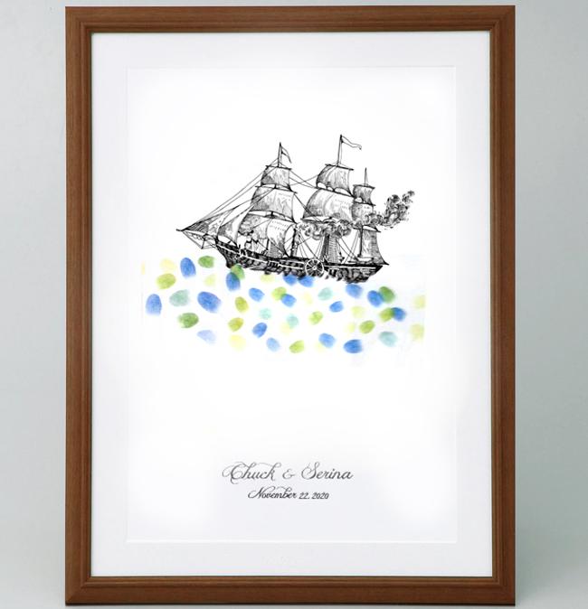 帆船のウェルカムボード<Mサイズ>【ゲスト参加型(50-100名用) スタンプ 拇印 指紋】【結婚式 結婚祝い プレゼント】【航海 出港 海 船旅 旅立ち】
