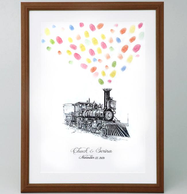 汽車のウェルカムボード<Mサイズ>【ゲスト参加型(50-100名用)スタンプ 拇印 指紋】【結婚式 ウェディング 結婚祝い プレゼント 電車 トレイン 鉄道】