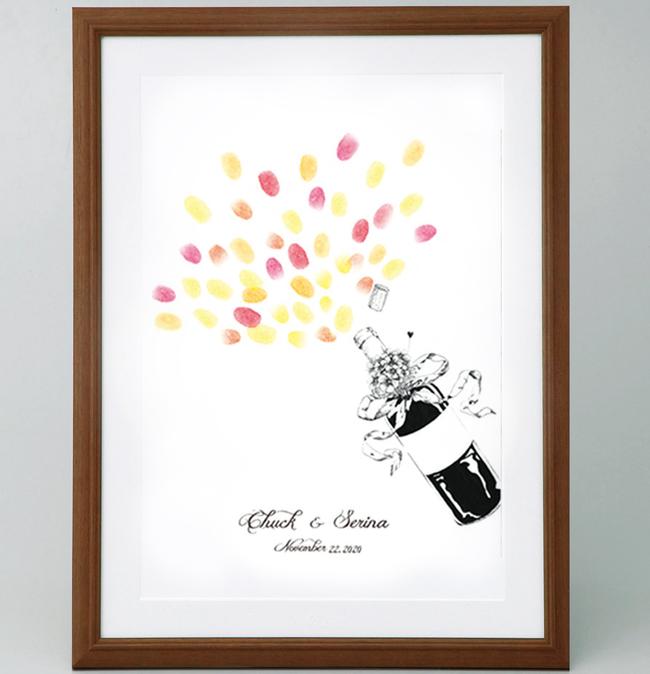 シャンパンボトルのウェルカムボード<マルカSサイズ> 【ゲスト参加型(30-80名用) スタンプ 拇印 指紋】 【結婚式 ウェディング 結婚祝い プレゼント 乾杯】