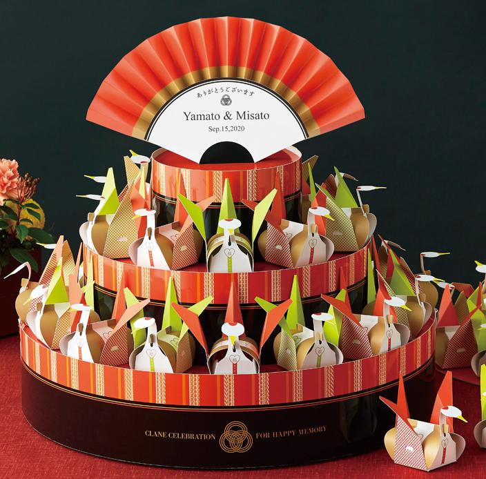 夫婦鶴のウェルカムボードプチギフトとして渡せる金平糖約20g入り42個セット【結婚式 和装 折鶴】