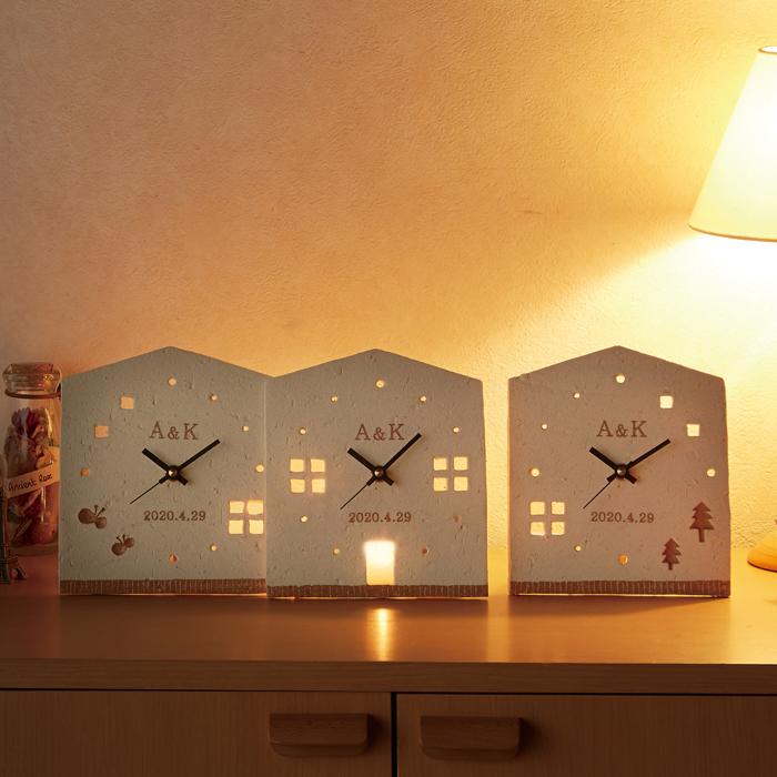 親ギフト用・信楽焼き時計 三個組【アットホーム】【陶器 名入れあり 花束贈呈替わりのプレゼント】【結婚式 ウェディング ブライダル 結婚祝い ウェルカムボード】