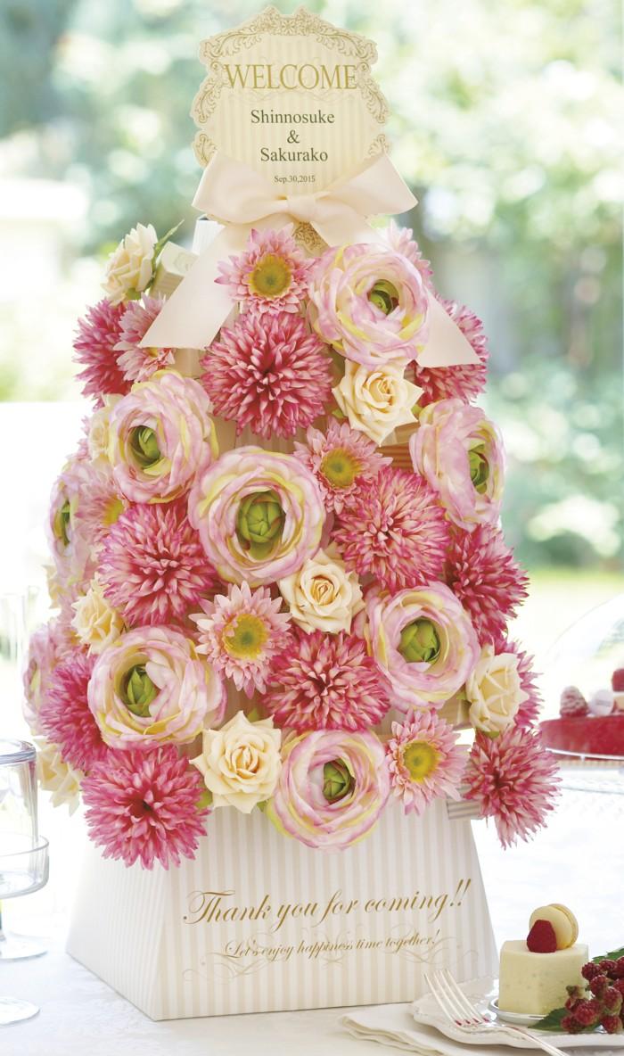フラワータワー【ピンキー】 お花マグネット&キャンディー48個セット 【ウェルカムオブジェ】