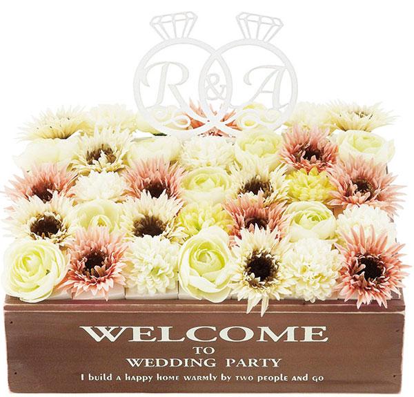 アンティークなフラワーボックスのウェルカムボード【フルリール】クッキー入りお花ボックス35個セット【ウェルカムオブジェ 結婚式 披露宴 イニシャルオブジェ】