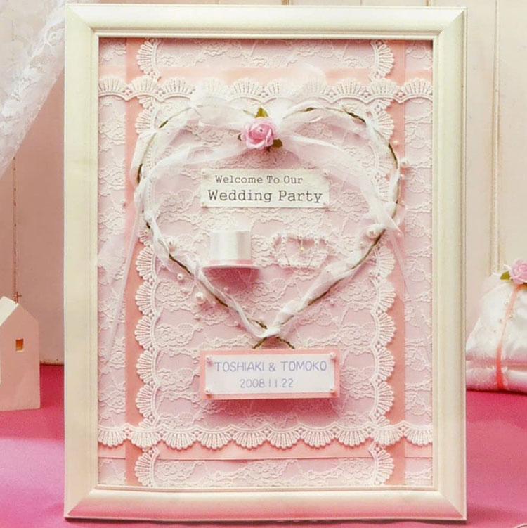 自分で作る エンジェルハートのウエルカムボード ピンク 手作りキットセット額 驚きの価格が実現 両面テープ ボンド付 結婚祝い ウェディング プレゼント 結婚式 好評 花嫁diy
