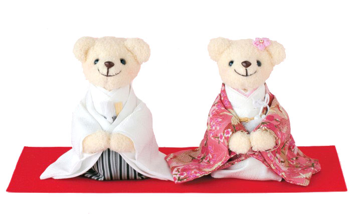 しあわせいっぱい・和装のくまさん(ピンク)完成品/金屏風・赤もうせん付き【結婚式 ウェルカムドール】