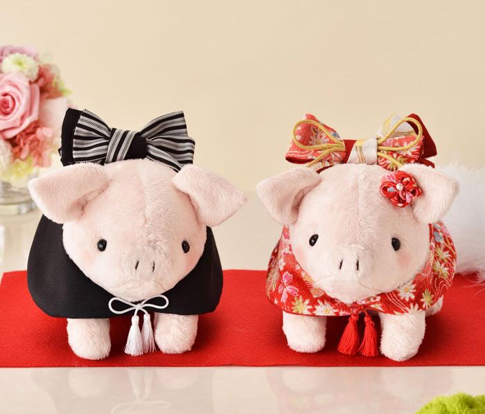 和装のとんちゃんピンク(赤い着物)完成品【結婚式 ウェルカムドール ぶたのぬいぐるみ ピッグ 豚 和服】