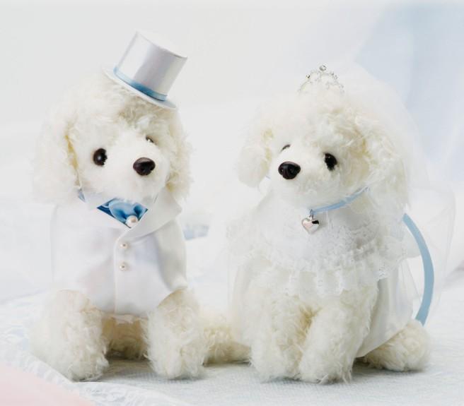 プードルのウェルカムドッグ完成品サムシングブルーリボン(ティアラ付き)【結婚式のウェルカムドール 犬のぬいぐるみ】