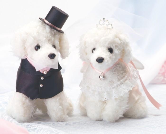 プードルのウェルカムドッグ完成品ピンクリボン(ティアラ付き)【結婚式のウェルカムドール 犬のぬいぐるみ】