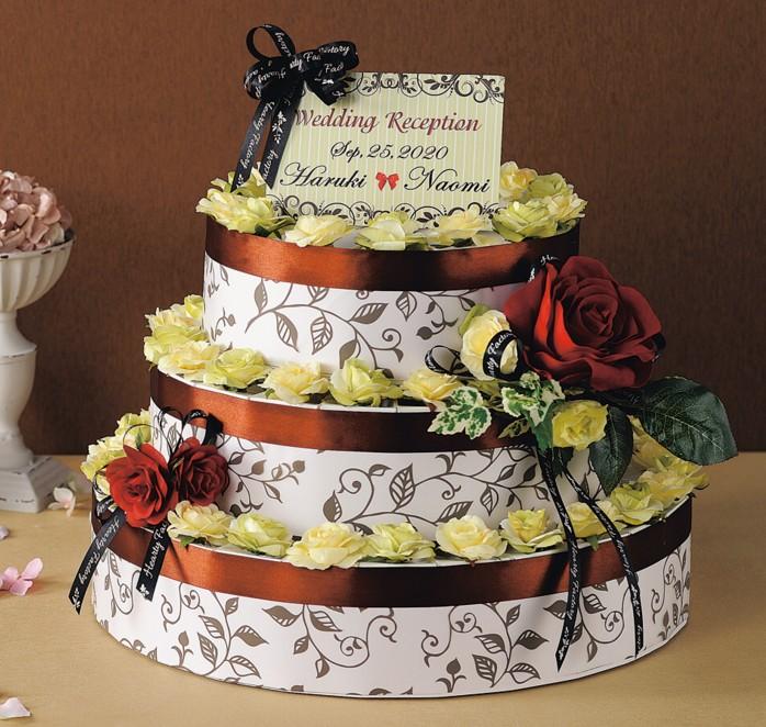 《レディーブラウン》3段のウェディングケーキ型ハートパイと紅茶のプチギフト(60個セット)【結婚式 ウェルカムボード】【送料無料】
