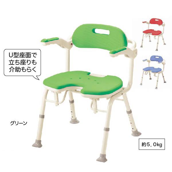 ひじ掛け付き 入浴いす折りたたみシャワーベンチIU(座面U型)シャワー椅子 お風呂用椅子 入浴用 ふろイス 風呂イス