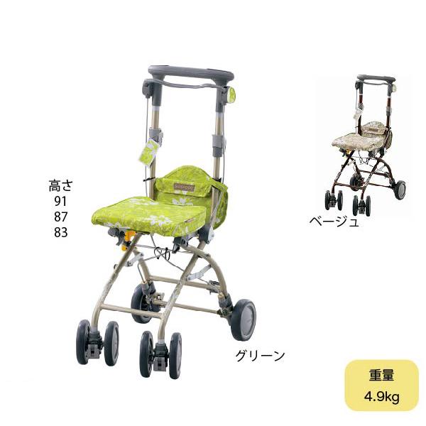 【メーカー直送品】折りたたみが簡単なシルバーカー 安寿 さんぽっぽ 重さ4.9kg 座れます 歩行補助 散歩用 高さ3段階調節可能 コンパクト 小さい 軽量 おばあちゃん