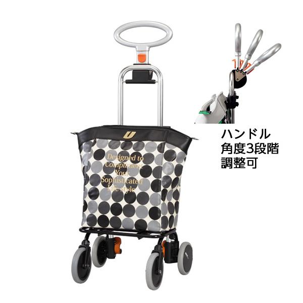 ちょっとおしゃれなショッピングカート アップライン / UL-0218 水玉ブラック ドット柄 買い物カート ショッピングバッグ キャリーバッグ 旅行用