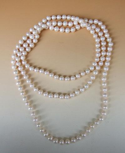 ロング 長い 本真珠ネックレス 長さ:130センチ、7ミリ 新発売