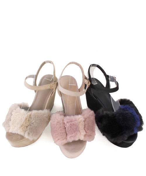◆WEB STORE提前預訂◆混合物毛皮楔子涼鞋/PS6544/RANDA/P[0701]