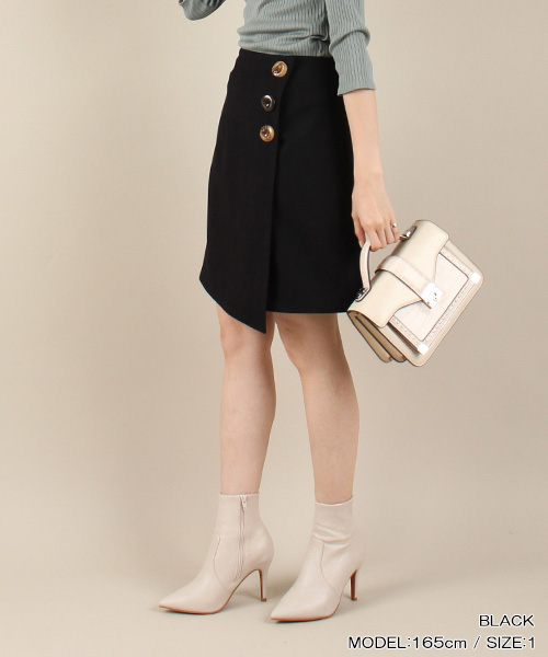 RANDA/ボタンデザインラップ風スカート/BB1213/L4【2019AW新作★送料無料】
