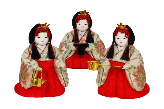 12号 三人官女セット雛人形 お雛様 【雛人形 三人官女】【ひな人形 】【人気】【smtb-m】H3-ON-12KN-003