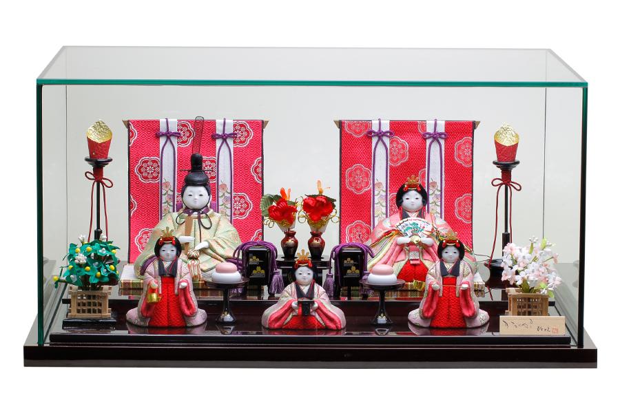 雛人形 おしゃれ 遥 - はるか - 五人飾り ガラスケース付き 14GN-011-G