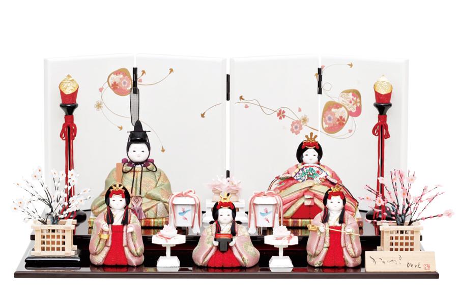 雛人形 木目込み 五人飾り かわいい コンパクト 送料無料 雛人形 雫 - しずく - 五人飾り H3-11GN-011コンパクト お雛様 お雛さま かわいい おしゃれ 木目込み ひな人形
