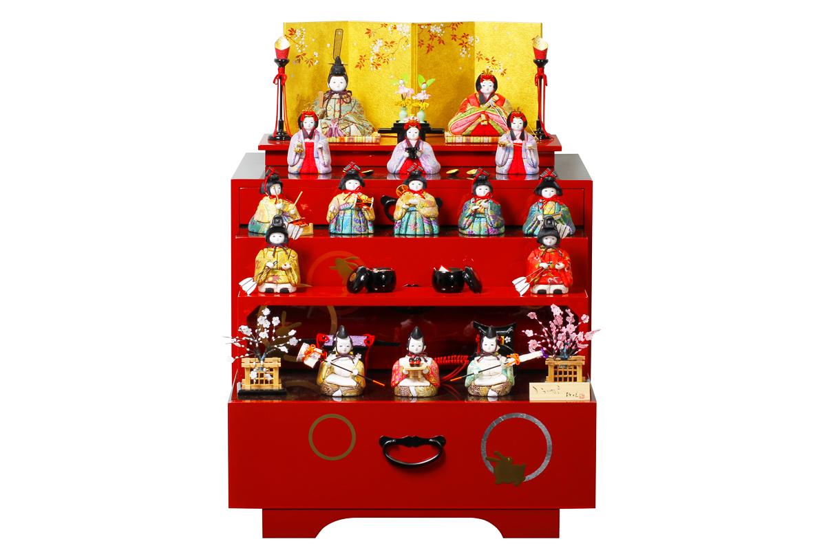 雛人形 人気 かわいい 木目込み ひな人形  コンパクト おしゃれ  温 - ぬくもり - 収納十五人飾り H3-11SR-019-MB
