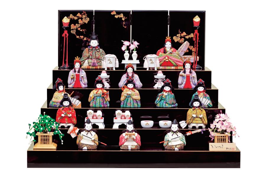 雛人形 人気 かわいい 木目込み ひな人形  コンパクト おしゃれ  温 - ぬくもり - 十五人飾り 11SR-019