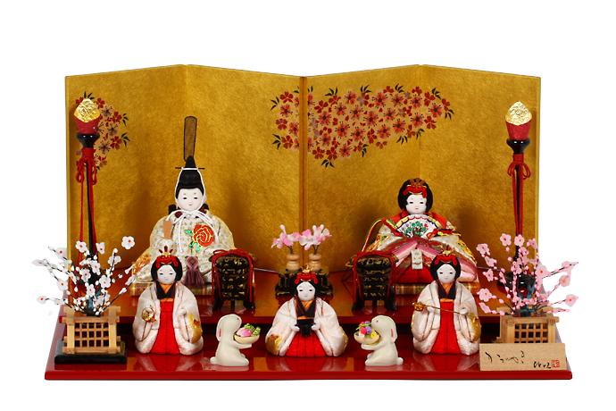 雛人形 木目込み 五人飾り 店 かわいい コンパクト 送料無料 豊富な品 人気 H3-11GN-020A あかね ひな人形 茜 おしゃれ -