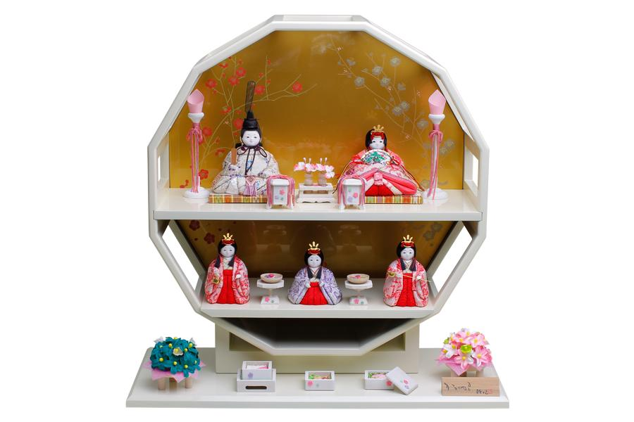 雛人形 人気 木目込み おしゃれ かわいい ひな人形 コンパクト  澪 - みお - 五人飾り H3-11GN-031-E