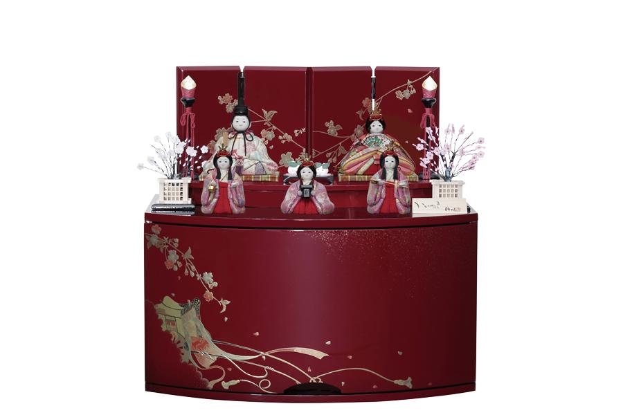雛人形 人気 木目込み おしゃれ かわいい ひな人形 コンパクト  絆 - きずな - 収納五人飾り H3-11GN-038-R