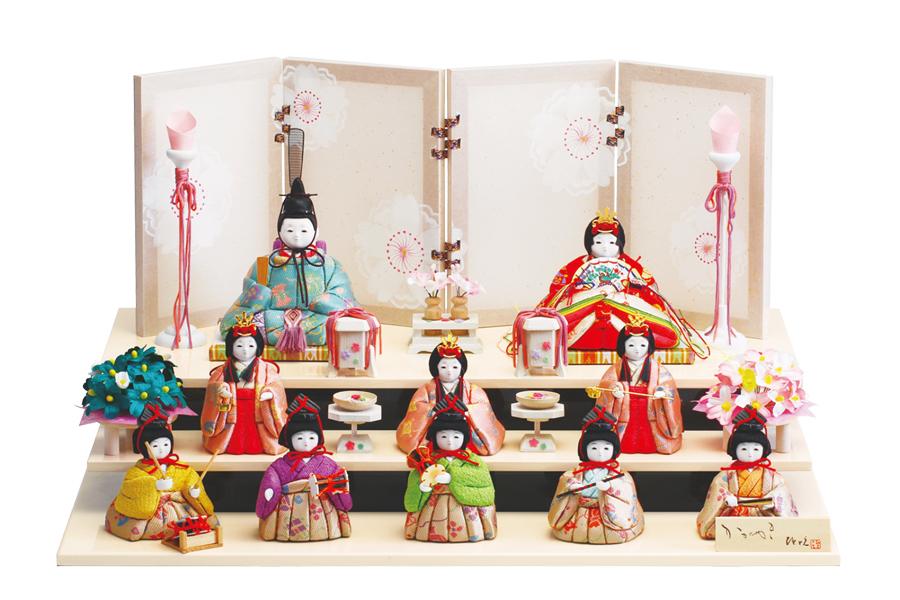 雛人形 人気 かわいい 木目込み ひな人形  コンパクト おしゃれ  祝 - いわい - 十人飾り H3-11JN-050A