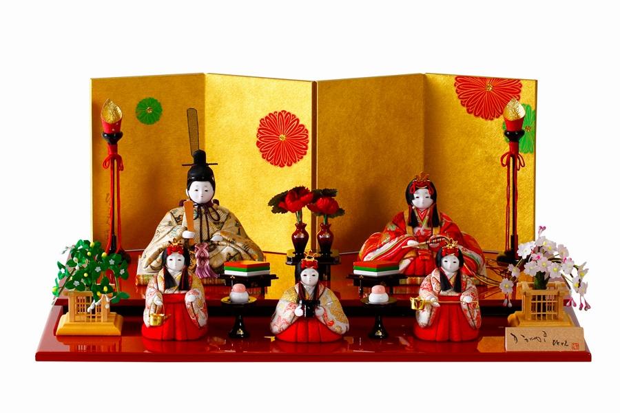 五人飾り かわいい 人気 つき 木目込み おしゃれ 月 H3-12GN-001 コンパクト ひな人形 - 雛人形 -