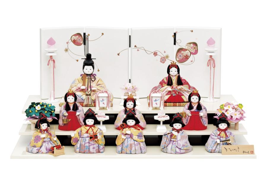 雛人形 人気 かわいい 木目込み ひな人形  コンパクト おしゃれ  愛 -  コンパクト おしゃれ い - 十人飾り H3-12JN-006A