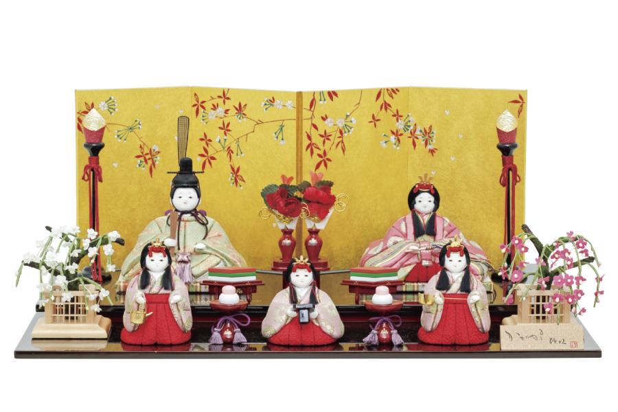 雛人形 コンパクト 人気 かわいい おしゃれ 木目込み ひな人形   奏 - かなで - 五人飾り H3-12GN-011A