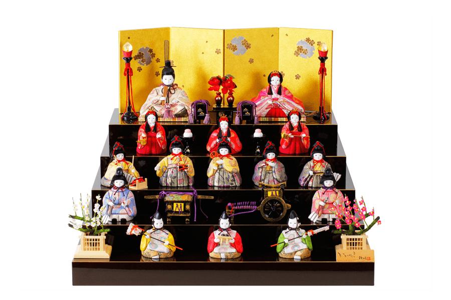 雛人形 人気 かわいい 木目込み ひな人形  コンパクト おしゃれ  艶 -  コンパクト おしゃれ でやか - 十五人飾り H3-12SR-012