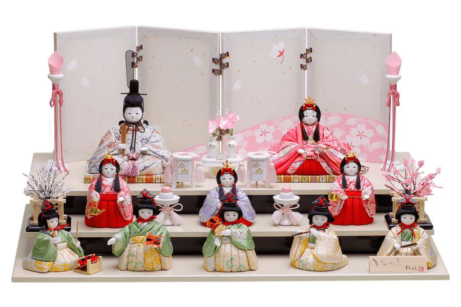 雛人形 人気 かわいい 木目込み ひな人形  コンパクト おしゃれ  雪 - ゆき - 十人飾り H3-12JN-031