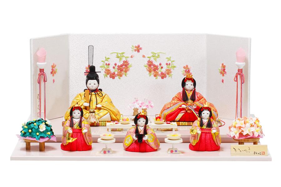 雛人形 コンパクト 人気 かわいい おしゃれ 木目込み ひな人形  紗 - すず - 五人飾り H3-12GN-051