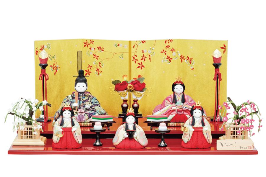 雛人形 コンパクト 人気 かわいい おしゃれ 木目込み ひな人形   栞 - しおり - 五人飾り H3-12GN-061