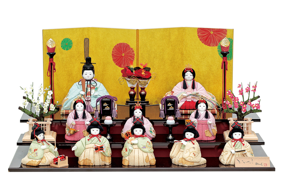 雛人形 人気 かわいい 木目込み ひな人形  コンパクト おしゃれ  絢 -  コンパクト おしゃれ や - 十人飾り H3-12JN-101A