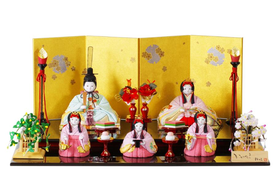 五人飾り ひな人形  絢 人気 おしゃれ - かわいい おしゃれ  - 雛人形 木目込み や H3-12GN-101 コンパクト