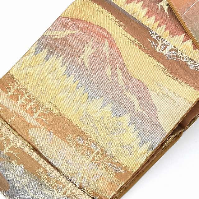【中古】 リサイクル帯 袋帯 / 仕立て上がり 正絹 西陣 金系 風景文様 ii0460b 【着物ひととき】