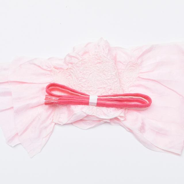 着物 中古 お値打ち 帯締め帯揚げセット 正絹 カジュアル ピンク U半額 帯締め ひととき セット kka6695b お中元 リサイクル 評価 おびじめおびあげ メール便可能 帯揚げ リサイクル着物 特価