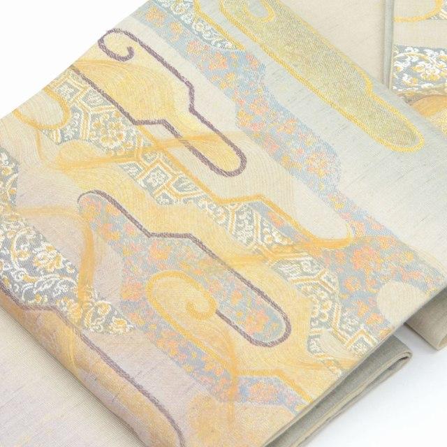 袋帯 リサイクル 中古 正絹 ふくろおび 特選 紫系 真綿 波文様