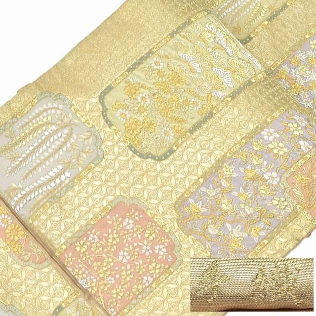 【全品20】リサイクル 袋帯 サイクル着物 セール 【中古】 正絹 ふくろおび 西陣 特選 金系 手織 蒔絵宝寿文