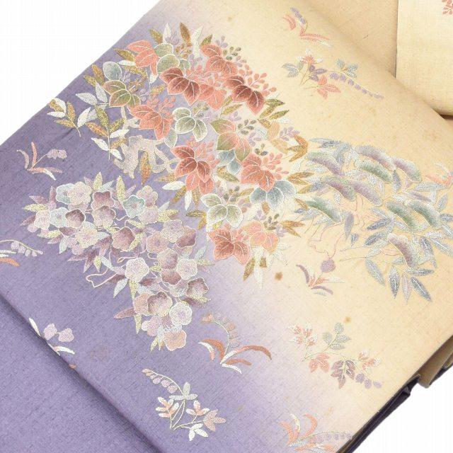 【全品20】リサイクル 袋帯 サイクル着物 セール 【中古】 正絹 ふくろおび 相良刺繍 洒落袋 特選 紫系 花文様