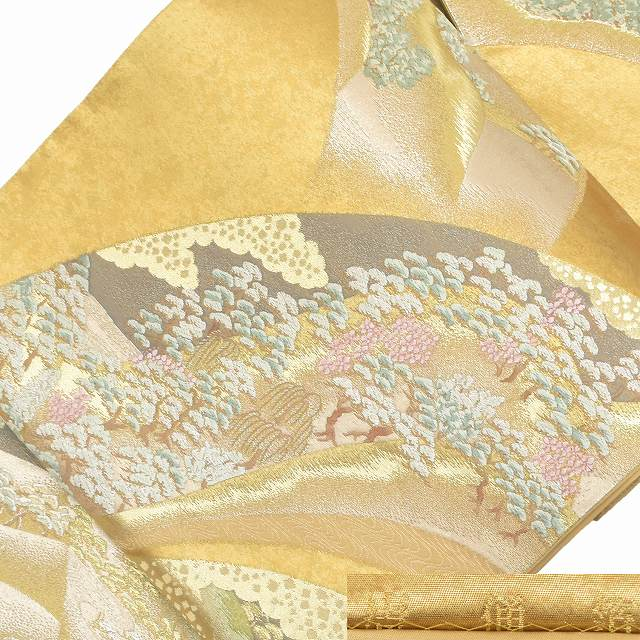 袋帯 リサイクル 中古 正絹 ふくろおび 西陣 プラチナ箔 草花文様 ゴールド系 jj0460a35