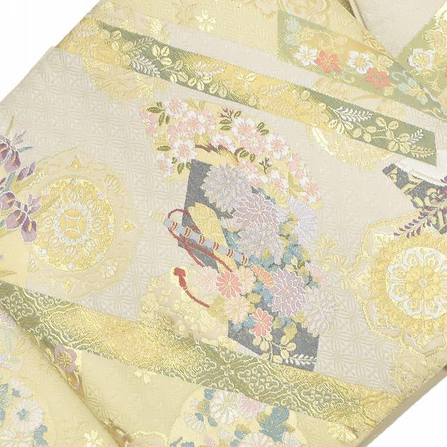 袋帯 リサイクル 中古 正絹 ふくろおび 西陣 草花文様 白系 jj0462a35