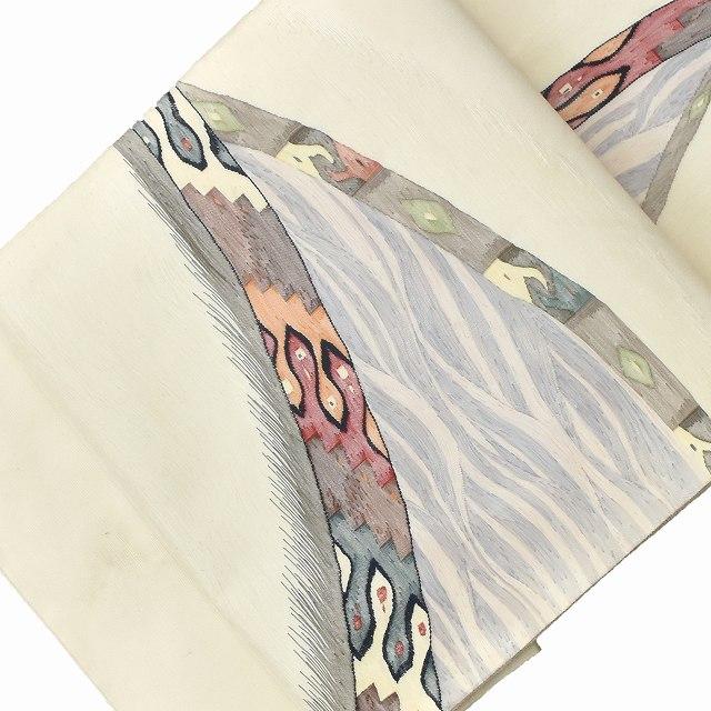 袋帯 リサイクル 中古 正絹 ふくろおび 洒落袋 白系 幾何学文様 【中古】
