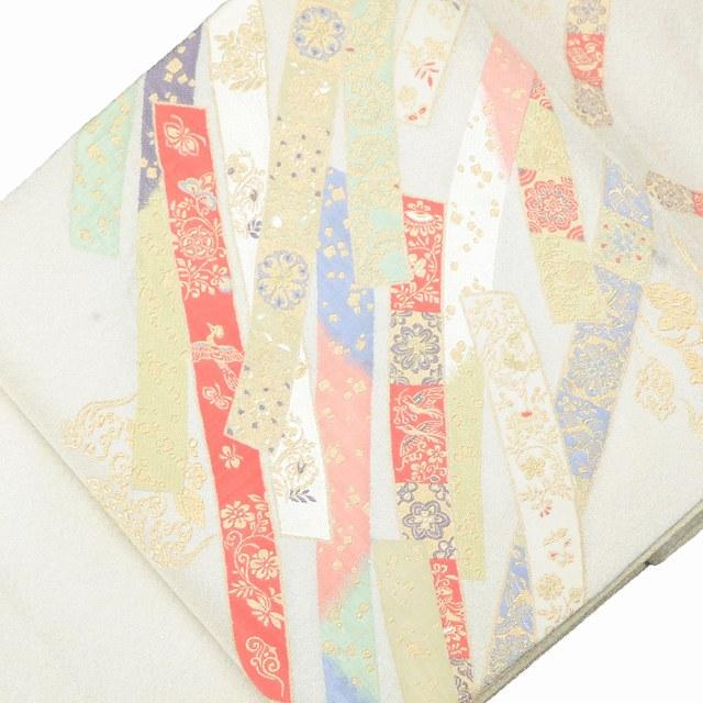 袋帯 リサイクル 中古 正絹 ふくろおび 綴織 鳳凰 短冊文様 白系 jj1612b