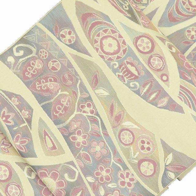 リサイクル 名古屋帯 中古 正絹 八寸 なごやおび 花文様 緑系 jj2082c