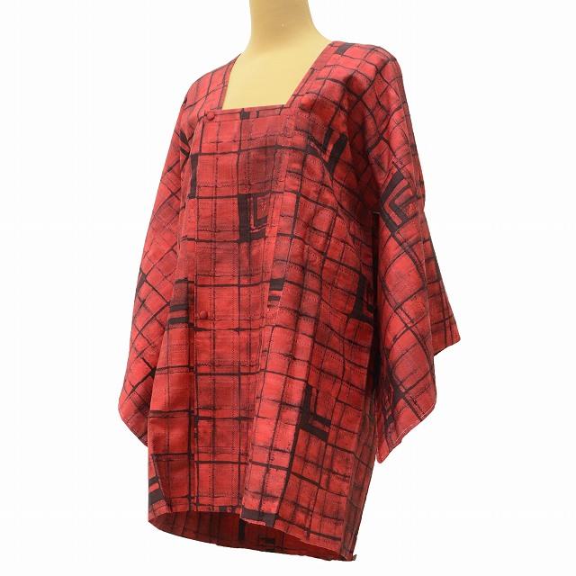 着物 中古 お値打ち コート 正絹 新作販売 道行衿 U50 リサイクル 裄Mサイズ 毎日激安特売で 営業中です リサイクル着物 赤系 裄65cm はおり 着物ひととき jj2146c 格子文様