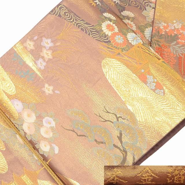 袋帯 リサイクル 中古 正絹 結婚式 ふくろおび 西陣 本金箔 ピンク系 jj2478a07